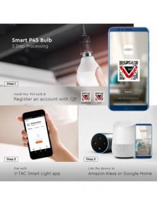 Bec Smart V-TAC, G45, 4.5W, E14, RGB+ 2700K/4000K/6400K compatabil cu Amazon Alexa si Google Home