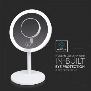 Oglinda LED pentru machiaj 5W, reglabila, cu oglinda cu lupa, dimabila, cu acumulator,lumina rece (6400 K), V-TAC