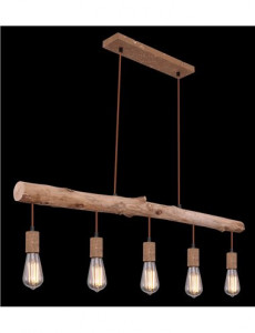 Pendul aramiu din lemn, 5 becuri, dulie E27, Globo 15327-5N