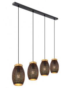 Pendul metal negru auriu, 4 becuri, dulie E27, Globo 24002-4H