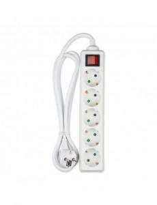 Prelungitor 5 prize 1.5 metri, cu intrerupator, cablu 3x1.5, alb, V-TAC
