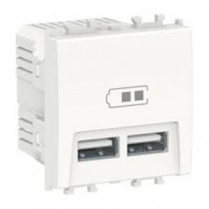 Priza dubla incarcare USB, max 2.1A, 2 module, alba Schneider Easy Styl