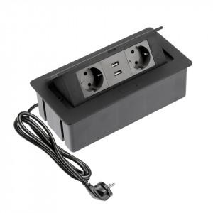 Priza incastrabila dreptunghiulara , 2 prize schuko 2 USB 5V 2.1A, neagra, GTV
