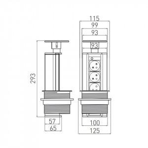 Dimensiuni priza incastrabila rotunda , 3 prize schuko, cablu 1.8 m, negru si aluminiu, GTV, AE-BPW3GS-80