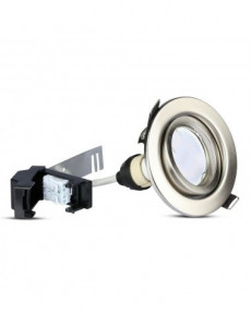 Set 3 spoturi rotunde + bec led GU10 5W inclus, lumina alba naturala, orientabile, crom, IP20, V-TAC