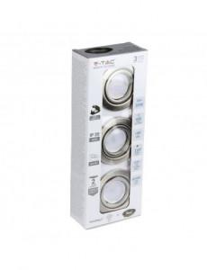 Set 3 spoturi rotunde + bec led GU10 5W inclus, lumina alba naturala, orientabile, crom, IP20, V-TAC