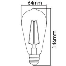 Bec Vintage Edison LED 4W ST64, Braytron