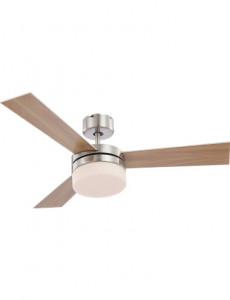 Candelabru cu ventilator Globo 0333, 2 becuri, dulie E14, opal, nichel mat