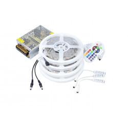 Kit Banda LED 5050 IP20 RGB 30 leduri/metru 20 metri+ alimentare + controller