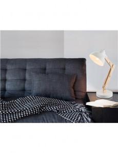 Lampa de birou lemn si metal alb, 1 bec, dulie E27, Globo 21502