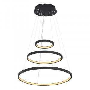 Pendul LED 57W, dimabil, lumina calda, metal, culoare negru, 67192-57B Globo