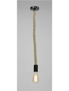 Pendul metal negru cu funie de canepa maro, 1 bec, dulie E27, Globo 69029H