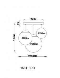 Plafoniera alba mata, 3 becuri, dulie E27, Globo 1581-3DR