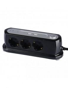 Prelungitor pentru birou, 3 prize + 2 USB 5V 2.4A, V-TAC
