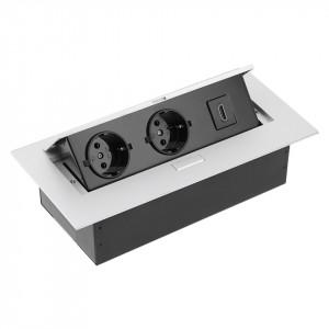 Priza incastrabila dreptunghiulara , 2 prize schuko + 1 HDMI, aluminiu, GTV