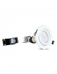 Set 3 spoturi rotunde + bec led GU10 5W inclus, lumina alba naturala, orientabile, albe, IP20, V-TAC