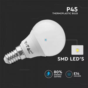 Set 6 becuri led sferice, E14, 5.5W(40W), lumina calda, 470 lm, A+, V-TAC