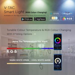 Bec Smart V-TAC, 10W, E27, RGB 2700K/4000K/6400K compatabil cu Amazon Alexa si Google Home