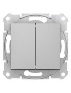 Intrerupator dublu 10A, IP20, Aluminiu, Schneider Sedna
