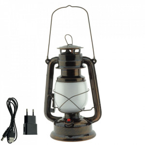 Lampa led cu efect de flacara, bronz, cu acumulator, Optonica