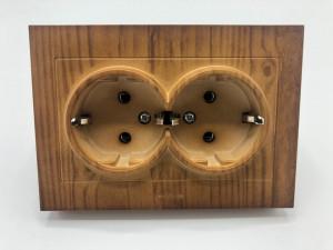 Priza dubla cu impamantare 16A, IP20, Ovivo Grano, lemn masiv