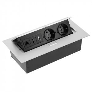 Priza incastrabila dreptunghiulara , 2 prize schuko + 1 USB 5V 2.1A + RJ45 + HDMI, aluminiu, GTV