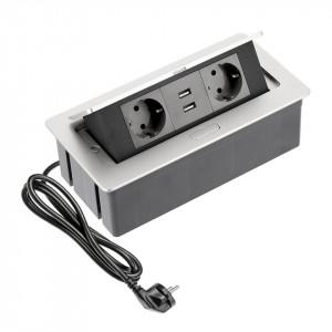 Priza incastrabila dreptunghiulara , 2 prize schuko 2 USB 5V 2.1A, aluminiu, prize negre, GTV