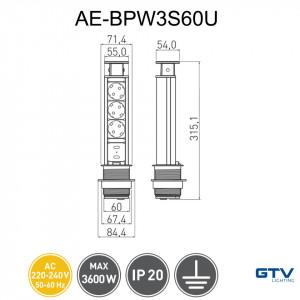 Dimesniuni priza turn incastrabila in blat 3 prize schuko si 2 prize USB 5V 2.1A GTV AE-BPW3S60U