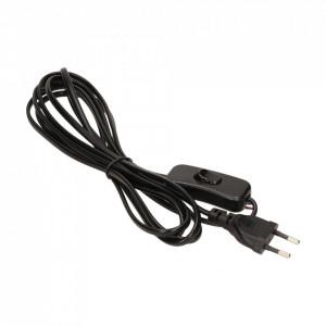 Stecher cu cablu si intrerupator, 2 metri, negru, GTV