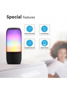 Boxa Bluetooth LED RGB portabila, slot microSD, jack 3.5mm, 3 ore, neagra, V-TAC