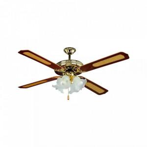 Candelabru clasic cu ventilator 55W, intrerupator pe fir, 4 becuri, dulie E27, maro, V-TAC