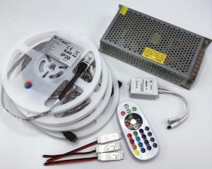 Kit Banda LED 5050 IP20 RGB 60 leduri/metru 20 metri+ alimentare + controller si telecomanda