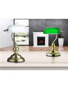 Lampa de birou alama sticla alba, 1 bec, dulie E27, Globo 2492