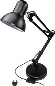Lampa de birou Lena, corp din metal negru, flexibil, prindere clema sau picior, dulie E27(max60W), MasterLED