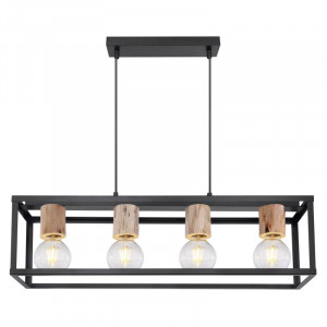 Lustra Hagar, negru mat, metal si lemn, dulie E27, 15476-4H Globo