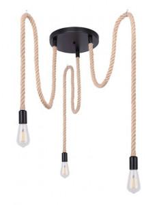 Pendul metal negru cabluri maro, 3 becuri, dulie E27, Globo 69029-3H1