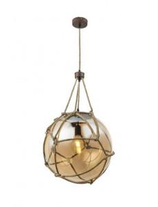 Pendul metal ruginiu cu franghie, 1 bec, dulie E27, Globo 15859H2