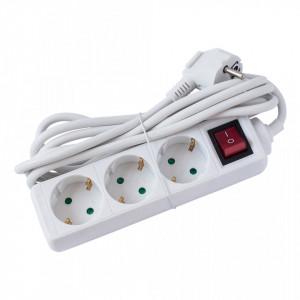 Prelungitor 3 prize 3 metri, cablu 3x1, max 10A, cu intrerupator, alb, Strohm