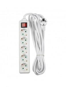 Prelungitor 5 prize 5 metri, cu intrerupator, cablu 3x1.5, alb, V-TAC