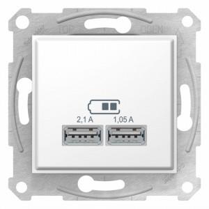 Priza dubla USB 2.1A, Alb, Schneider Sedna