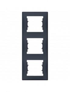 Rama tripla verticala IP 20, Grafit, Schneider Sedna