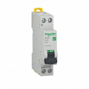 Siguranta automata P+N, 25A, curba de declansare C, capacitate de rupere 4.5kA, Schneider Easy9