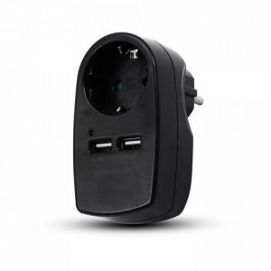 Stecher V-TAC cu 2 USB, 2.1 A, negru