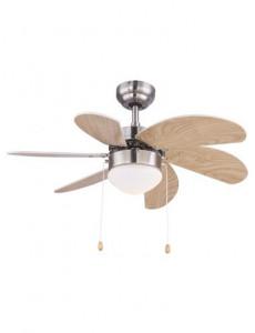 Candelabru cu ventilator Globo 03301, 1 bec, dulie E14, opal, nichel mat