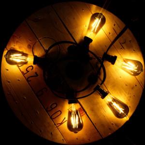 Ghirlanda luminoasa 10 metri, protectie IP44 + 10 becuri vintage fumurii led 6W, forma avocado ST64, lumina calda