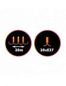 Ghirlanda luminoasa, 20 becuri, dulie E27, fara becuri, 20M, protectie IP44