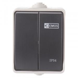 Intrerupator dublu, 10A, montaj aplicat, protectie IP44, pentru exterior, Emos