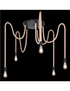 Pendul metal negru cabluri maro, 5 becuri, dulie E27, Globo 69029-5H