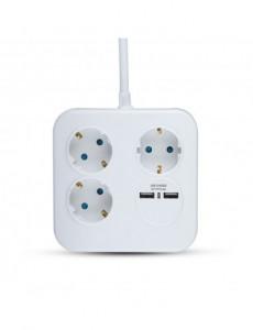 Prelungitor 3 prize, 1.4 metri, 2 USB 5V 2.4A, cablu 3x1.5, V-TAC