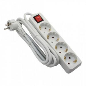 Prelungitor 4 prize 3 metri, cablu 3x1, max 10A, cu intrerupator, alb, Strohm